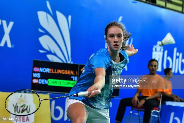 Line Christophersen of Denmark competes against Vera Ellingsen of Norway during Women Single qualification round of the BWF World Junior...