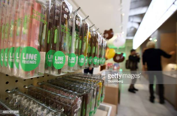 Line Corp character merchandise hangs on display at the Line Friends Store in Tokyo Japan on Thursday Dec 10 2014 Line which makes money by asking...