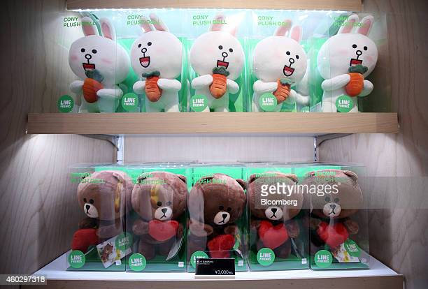 Line Corp character toys sit on display at the Line Friends Store in Tokyo Japan on Thursday Dec 10 2014 Line which makes money by asking smartphone...