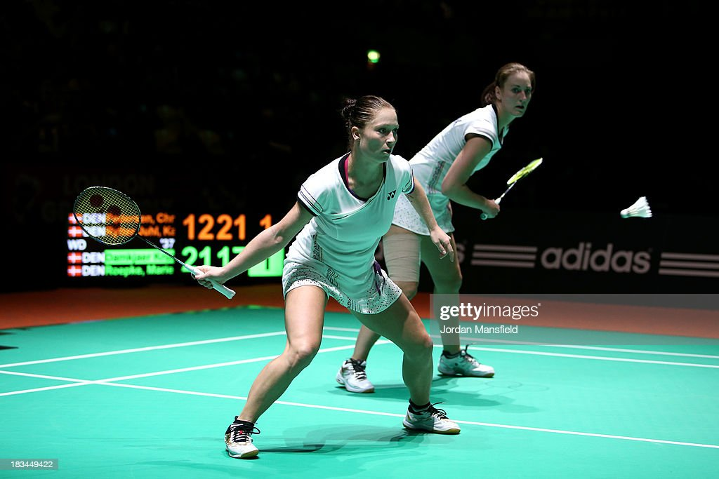 Line Damkjaer Kruse (L) and Marie Roepke (R) of Denmark in action during the Womens Doubles Final against Christinna Pedersen and Kamilla Rytter Juhl of Denmark during Day 6 of the London Badminton Grand Prix at The Copper Box on October 6, 2013 in London, England.