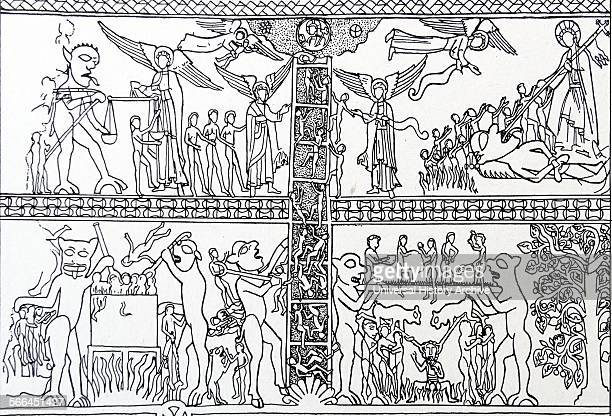 Line drawing based on the idea of the 'Ladder of Salvation' The bottom half comprises of Hell and the upper half comprises of Heaven Dated 13th...