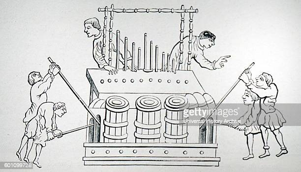 Line drawing depicting an organ with organists Dated 12th Century