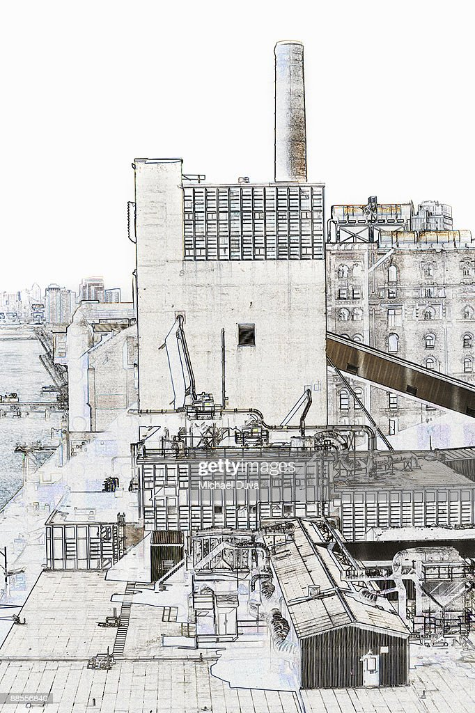 line drawing dominos sugar factory  in brooklyn ny : Stock Photo