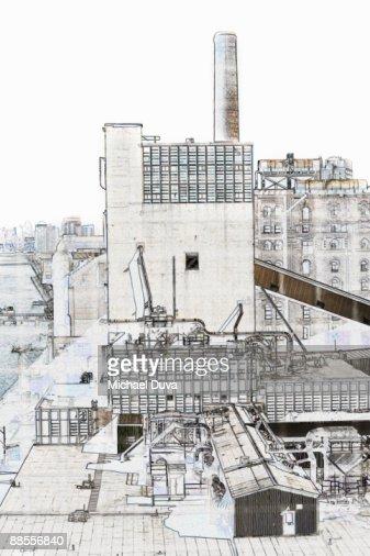 line drawing dominos sugar factory  in brooklyn ny : Stock Photo