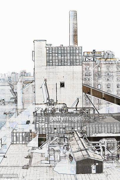 line drawing dominos sugar factory  in brooklyn ny