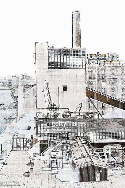 line drawing dominos sugar factory  in brooklyn ny