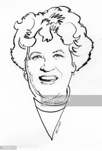 A line drawing of TV chef Julia Child circa 1970