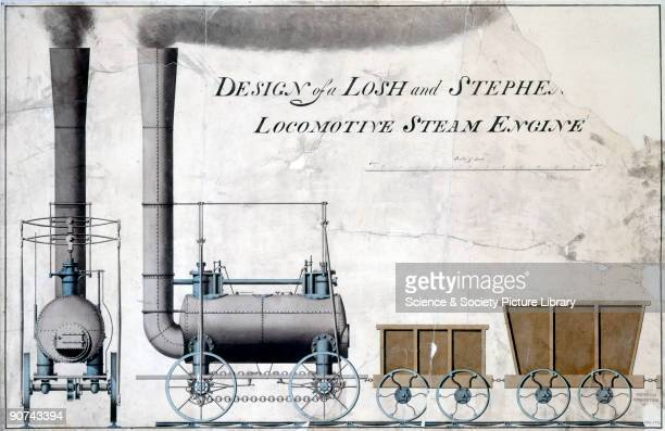 Line drawing with colour wash copied from �A Practical Treatise on Railroads� by Nicholas Wood 1825 In the early 1820s the railway engineer George...