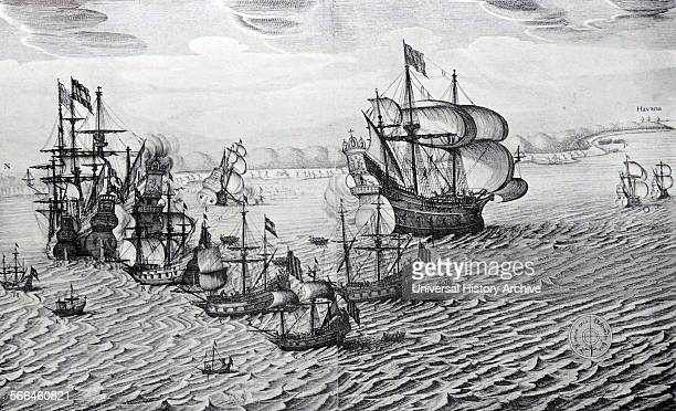 Line engraving of the capture of the Spanish Silver Fleet near Havana On the left Piet Hein's ship alongside one of the two Galleons captured...