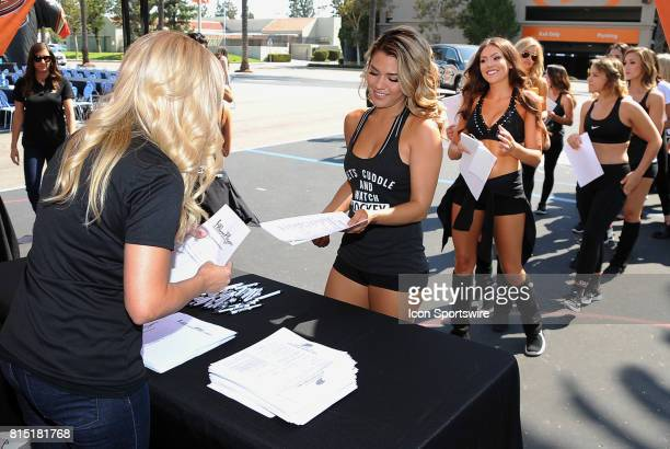 A line forms to hand in paperwork to become a 20172018 Anaheim Ducks Power Player on July 15 2017 at Anaheim Ice in Anaheim CA