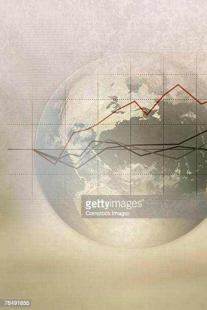 Line graph and world globe