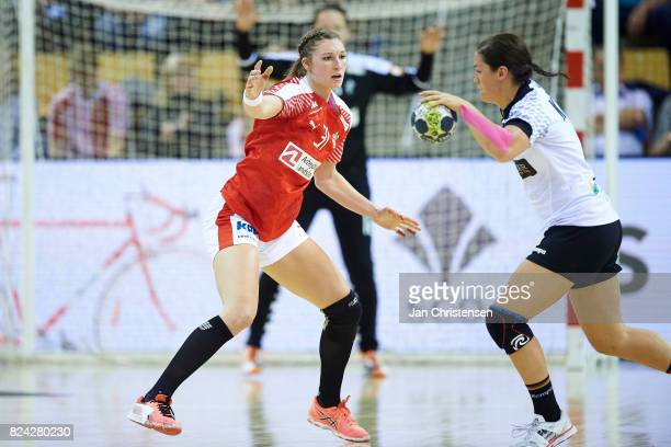 Line Haugsted of Denmark defending during the international friendly match between Denmark and Germany at Ceres Arena on June 08 2017 in Arhus Denmark