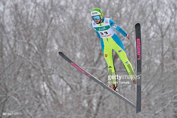 Line Jahr of Norway competes in the normal hill individual 1st round during the FIS Women's Ski Jumping World Cup Sapporo at Miyanomori Ski Jump...