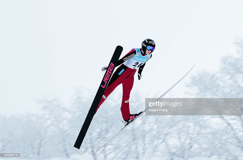 Line Jahr of Norway jumps in the first round of competition during day one of the FIS Women's Ski Jumping World Cup at Zao Jump Stadium on February 9, 2013 in Yamagata, Japan.