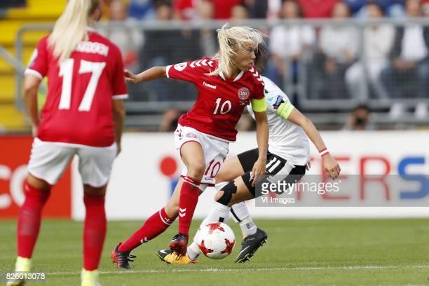 Line Jensen of Denmark Pernille Harder of Denmark Viktoria Schnaderbeck of Austria women during the UEFA WEURO 2017 semifinal match between Denmark...
