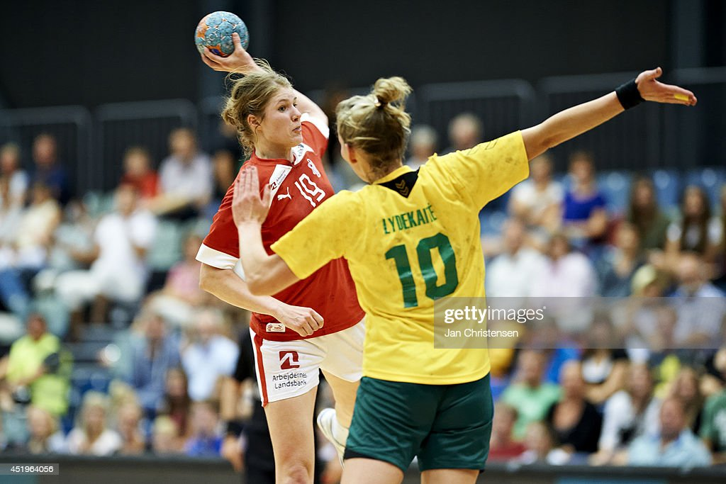 Line Jorgensen from Denmark throws the ball during Denmark vs. Lithuania. EHF EURO 2014 women Qualification Round 6 in Roskilde Hallerne on June 15, 2014 in Roskilde, Denmark.