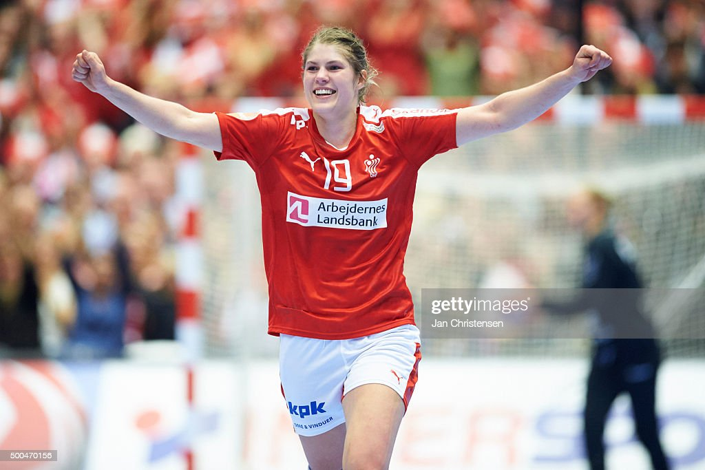 Line Jorgensen of Denmark celebrate after goal during the 22nd IHF Women's Handball World Championship match between Denmark and Serbia in Jyske Bank Boxen on December 08, 2015 in Herning, Denmark.