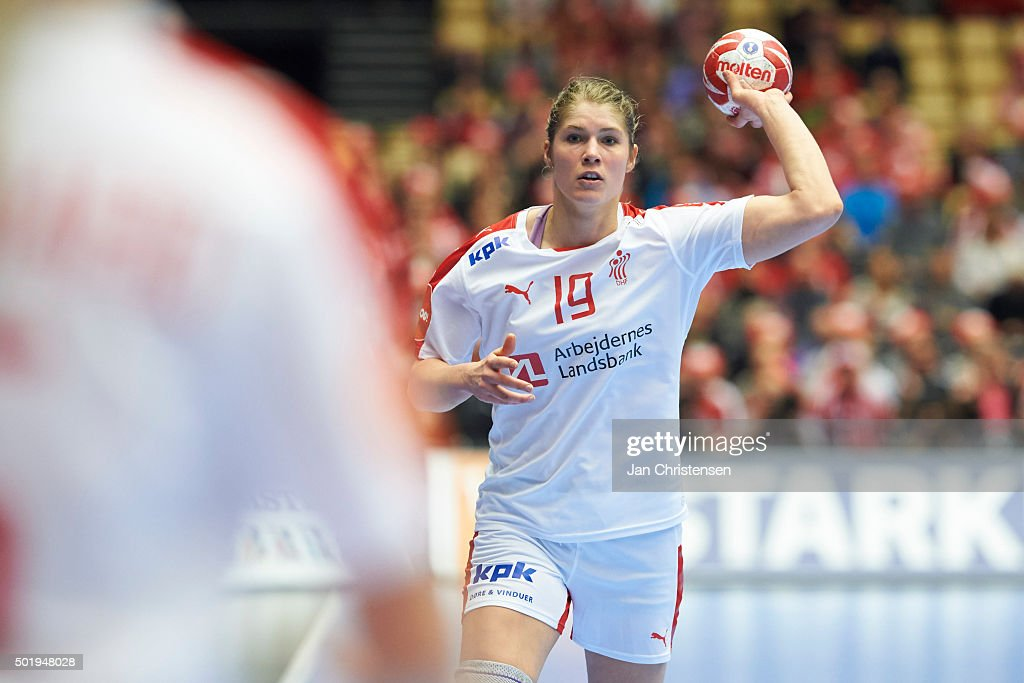 Line Jorgensen of Denmark in action during the 22nd IHF Women's Handball World Championship Loser of Quarter Final match between Montenegro and Denmark in Jyske Bank Boxen on December 18, 2015 in Herning, Denmark.