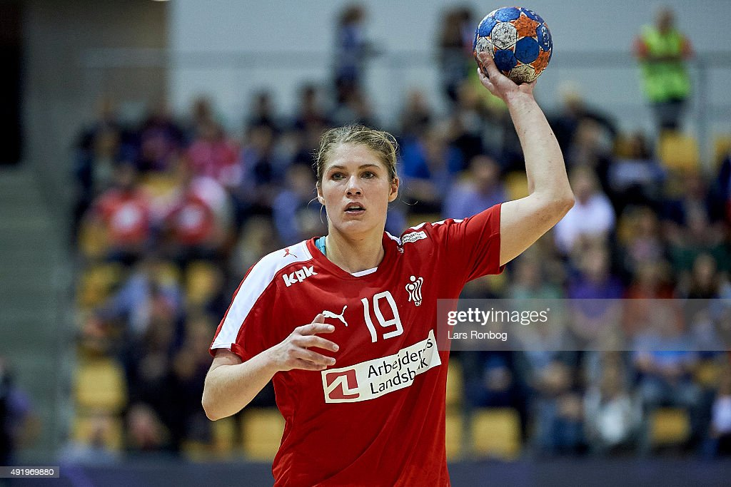 Line Jorgensen of Denmark in action during the EHF EURO 2016 Womens Qualifier match between Denmark and Turkey at Ceres Arena on October 8, 2015 in Aarhus, Denmark.