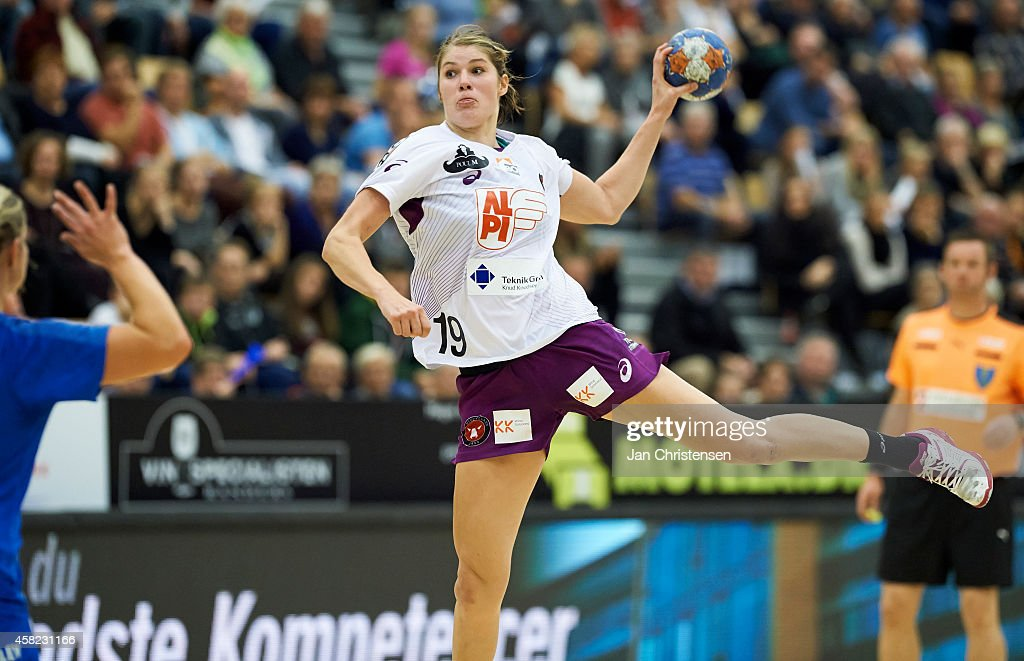 Line Jorgensen of FC Midtjylland in action during the Danish Handball League Cup match between Randers HK and FC Midtjylland in Arena Randers on November 01, 2014 in Randers, Denmark.