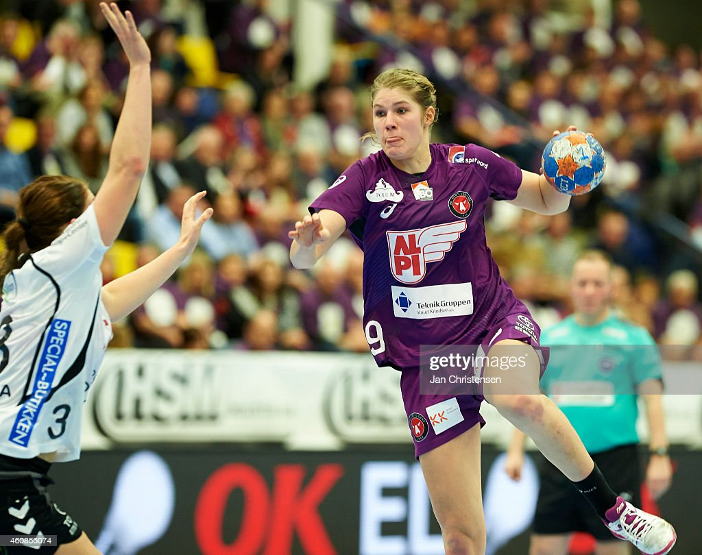 Line Jorgensen of FC Midtjylland in action during the HSM Industri Pokalfinale - Danish Cup Final Womens Handball between Team Tvis Holstebro and FC Midtjylland in Jysk Arena on December 27, 2014 in Silkeborg, Denmark.