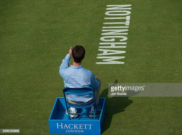 Line Judge makes a call on day four of the WTA Aegon Open on June 9 2016 in Nottingham England