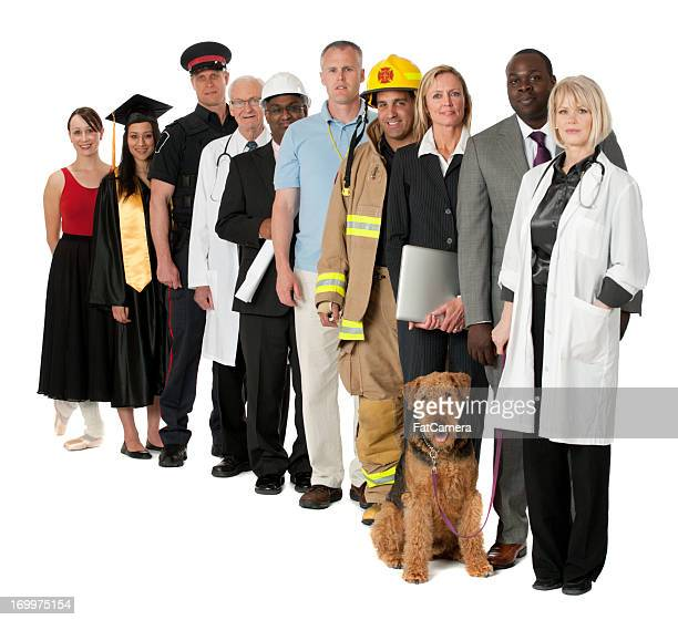 Line of 10 people representing occupations