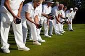 A line of bowls players