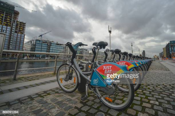 A line of Dublin's bikes in Dublins Docklands On Wednesday 25 October 2017 in Dublin Ireland