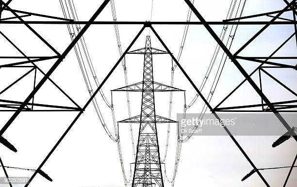A line of electricity pylons crosses the Essex countryside on November 19 2009 near Cambridge United Kingdom As world leaders prepare to gather for...