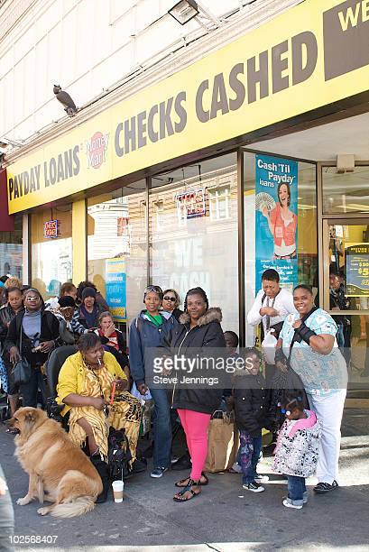 A line of fans outside the Western Union 'Returns The Love' To Moms at Money Mart on May 6 2010 in San Francisco California