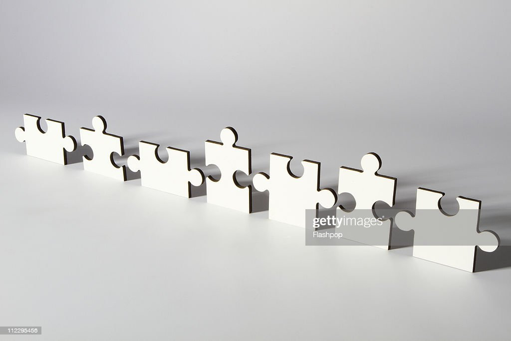 Line of jigsaw pieces : Stock Photo