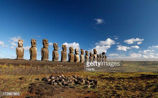 Line of Maoi statues at Ahu Tongariki, Easter Island