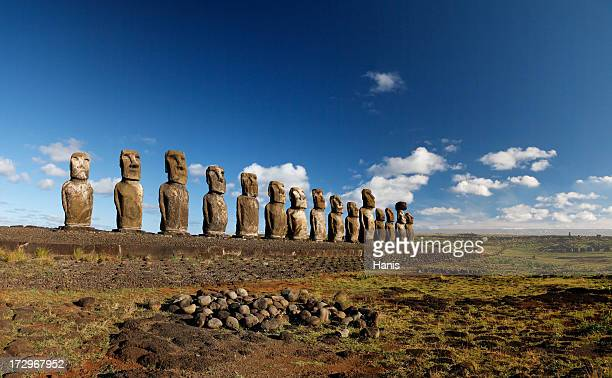 Line of Maoi statues at Ahu Tongariki, Easter Island