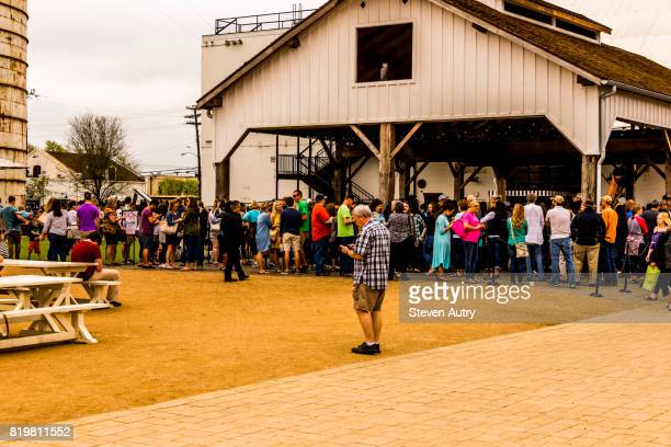 WACO, TX, USA  MARCH 18, 2017: Line of patrons wrapped around the Magnolia Market building.