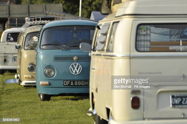 A line of pre 1973 VW Baywindow Type 2 Transporters at Vanfest festival in the Three Counties Showground Malvern where thousands of VW transporters...