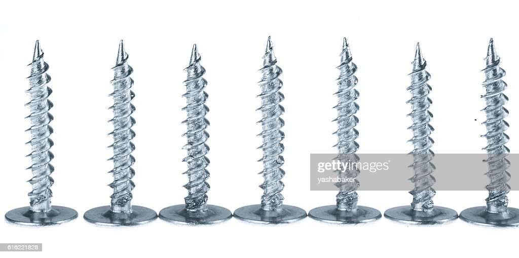 Line of silver screws toned grey : Stock Photo