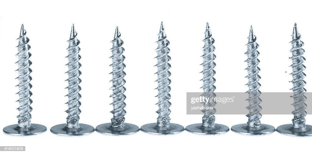 Line of silver screws toned grey : Stockfoto