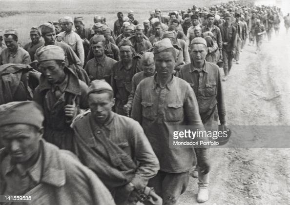 A line of Soviet prisoners leaves Stalingrad present Volgograd Stalingrad September 1942