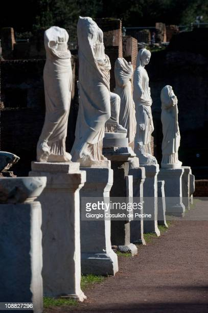 A line of statues in the house of the Vestal Virgins in the archaeological area of the Roman Forum on February 4 2011 in Rome Italy The House of the...