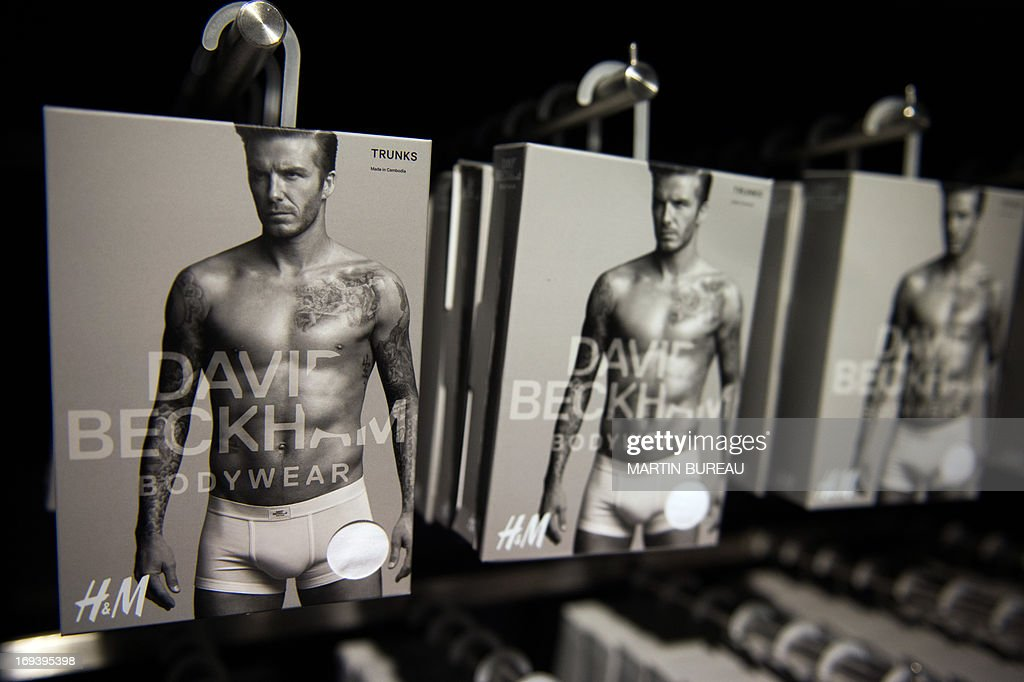 A line of underwear fronted by French football club Paris Saint Germain's English midfielder David Beckham is on show at Swedish clothes retailer H & M in Paris on May 24, 2013. BUREAU