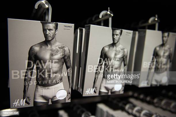 A line of underwear fronted by French football club Paris Saint Germain's English midfielder David Beckham is on show at Swedish clothes retailer H M...