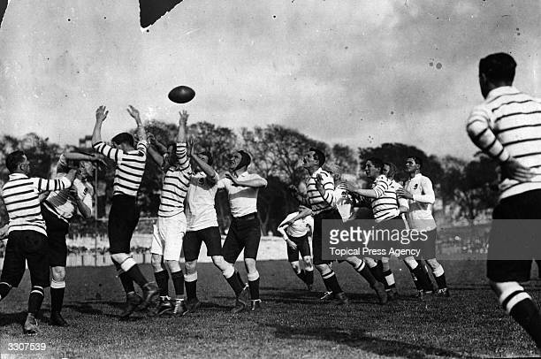 A line out is thrown in the first match of the 1908 Australian Rugby Union tour against Devon