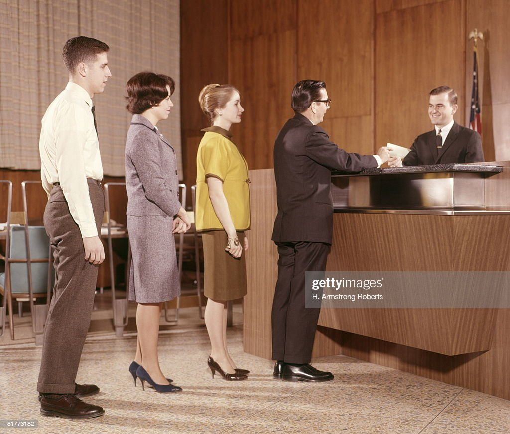 Line People Group Waiting Bank Teller Banking. : Stock Photo
