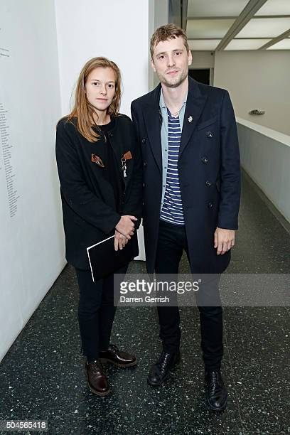 Line Pillet and George Barnett attend a Willy Vanderperre screening and QA during The London Collections Men AW16 at ICA on January 11 2016 in London...