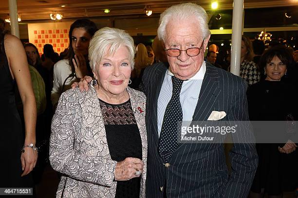 Line Renaud and David Hamilton attend the Sidaction Gala Dinner at Pavillon d'Armenonville on January 23 2014 in Paris France