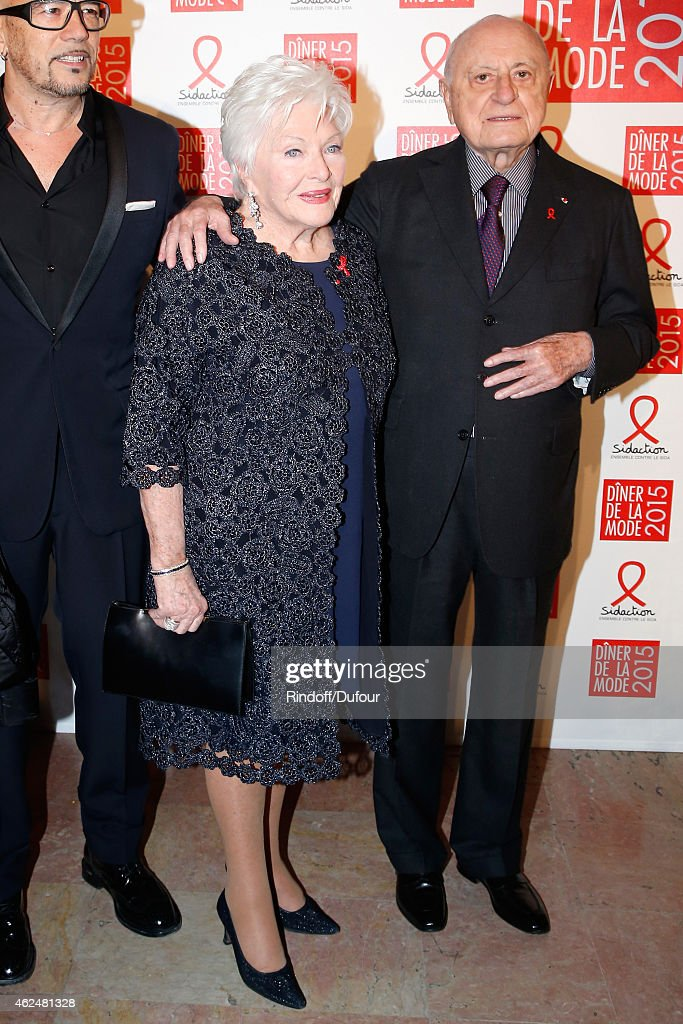 Line Renaud and Pierre Berge attend the Sidaction Gala Dinner 2015 at Pavillon d'Armenonville on January 29 2015 in Paris France