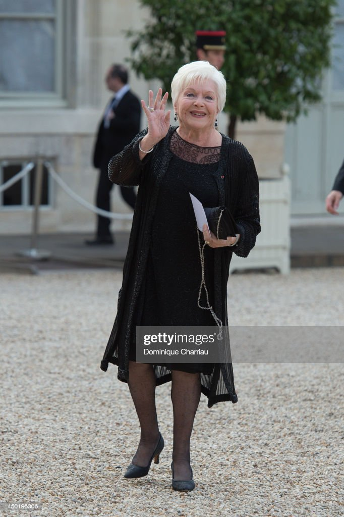 Line Renaud arrives at the Elysee Palace for a State dinner in honor of Queen Elizabeth II hosted by French President Francois Hollande as part of a...