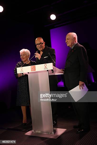 Line Renaud Pascal Obispo and Pierre Berger attend of the Sidaction Gala Dinner 2015 at Pavillon d'Armenonville on January 29 2015 in Paris France