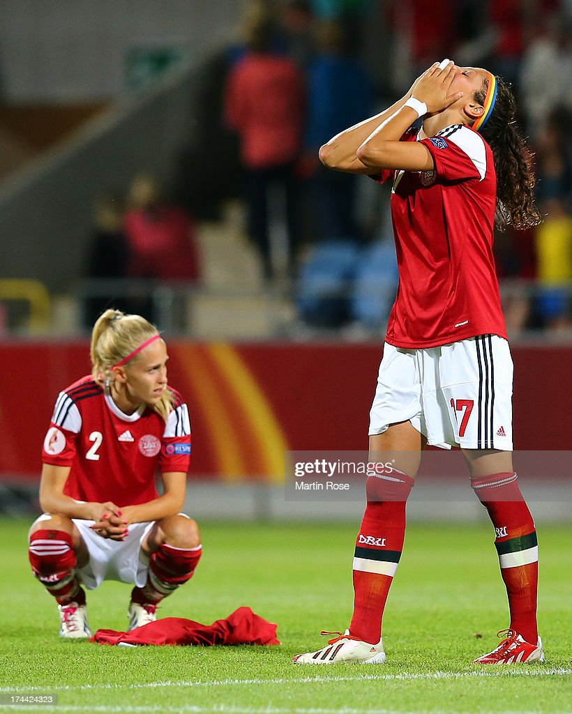 Line Roeddik, Nadia Nadim of Denmark look dejected after losing the UEFA Women's Euro 2013 semi final match between Norway and Denmark at Nya Parken on July 25, 2013 in Norrkoping, Sweden.